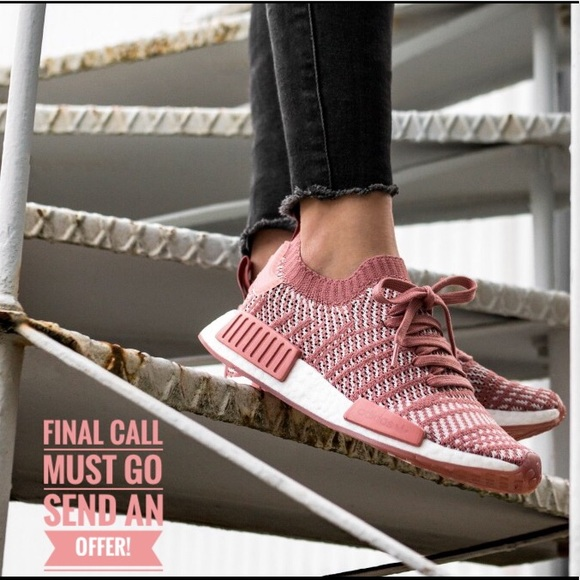 55d778a0 Adidas NMD R1 STLT Salmon Ash Pink Sneakers Size 8 NWT